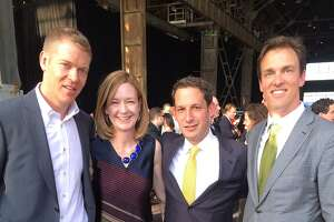 Four of the original Tipping Point trustees (from left) Chris James, Katie Schwab Paige, TP founder-CEO Daniel Lurie and Alec Perkins at Pier 70.