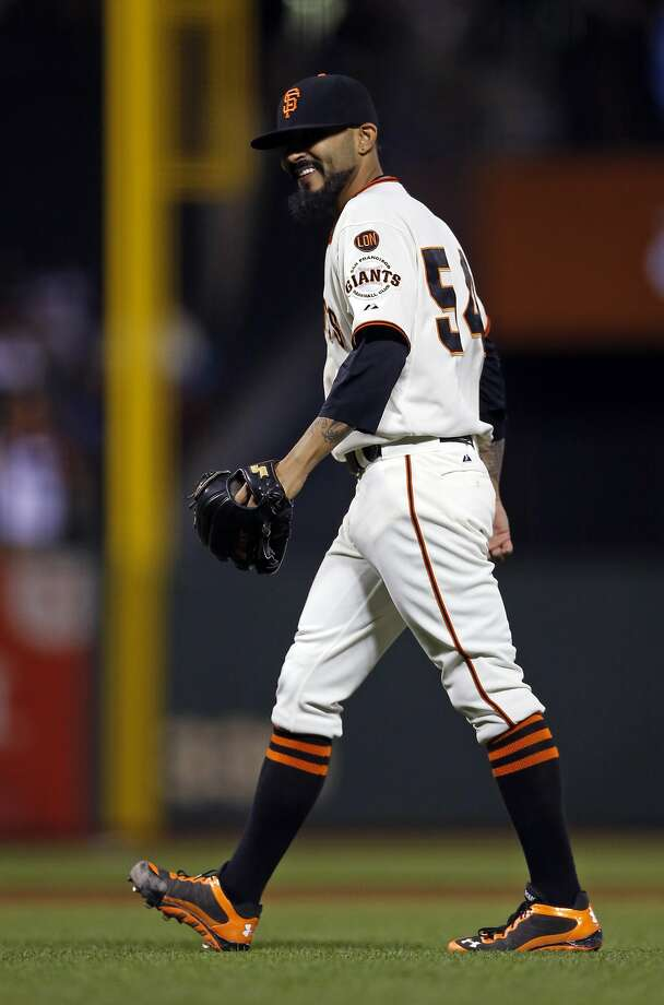 San Francisco Giants' Sergio Romo reacts after striking out San Diego Padres' Derek Norris to end 8th inning during MLB game at AT&T Park in San Francisco, Calif., on Monday, May 4, 2015. Photo: Scott Strazzante, The Chronicle