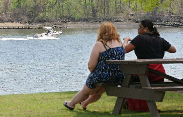 A boat heads down the Hudson River near the Corning Preserve on Monday, May 4, 2015 in Albany, N.Y. (Lori Van Buren / Times Union) Photo: Lori Van Buren