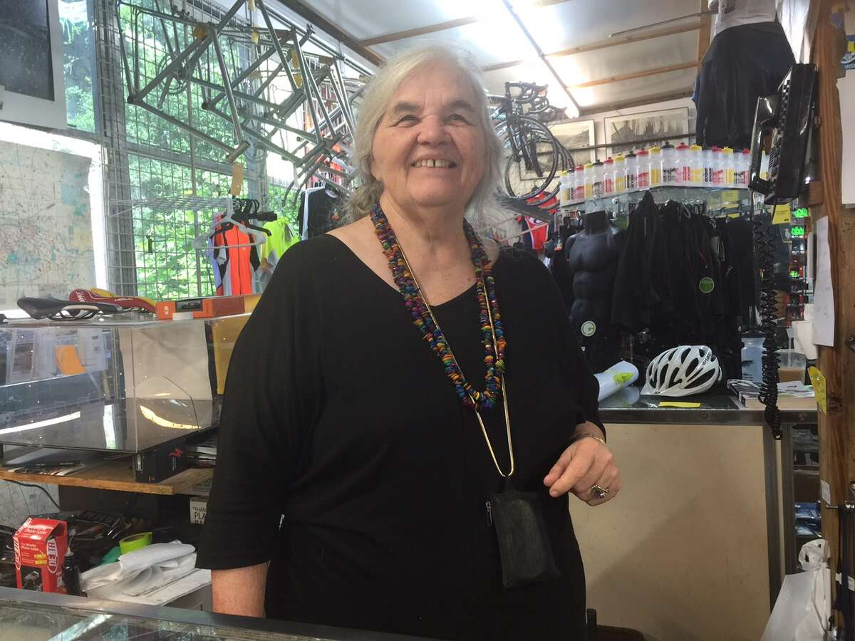 Joy Boone behind the counter at her store.