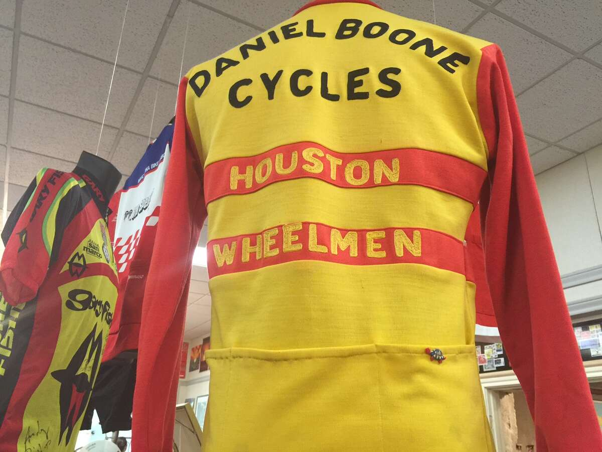From the Houston Bicycle Museum: A vintage jersey shows Boone Cycles' place in bike history.