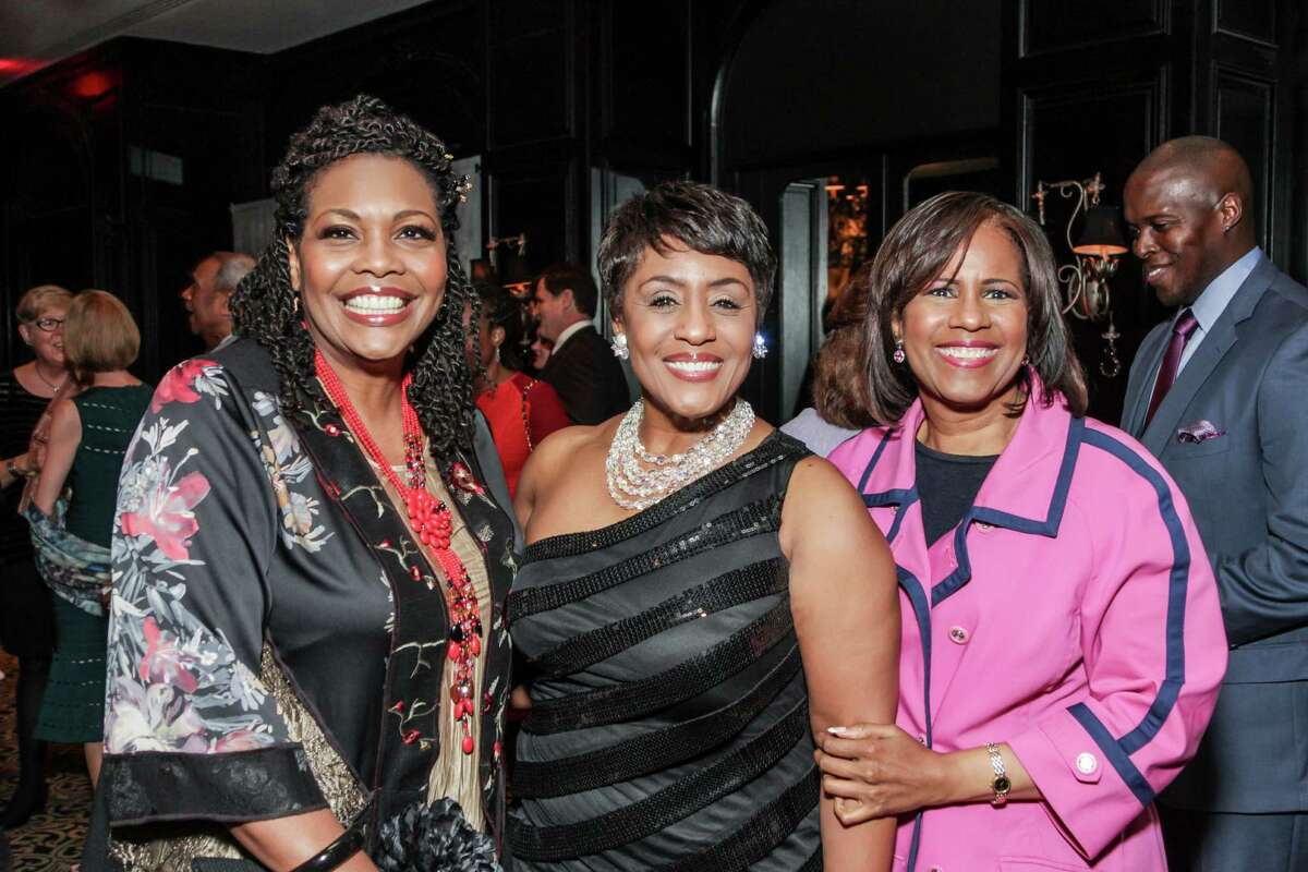 SOCIETY: Angela Bebel, Linda Lorelle, and Melanie Lawson at the Houston Arts Alliance's Intimate Evening with Lee Daniels at the Hotel ZaZa.