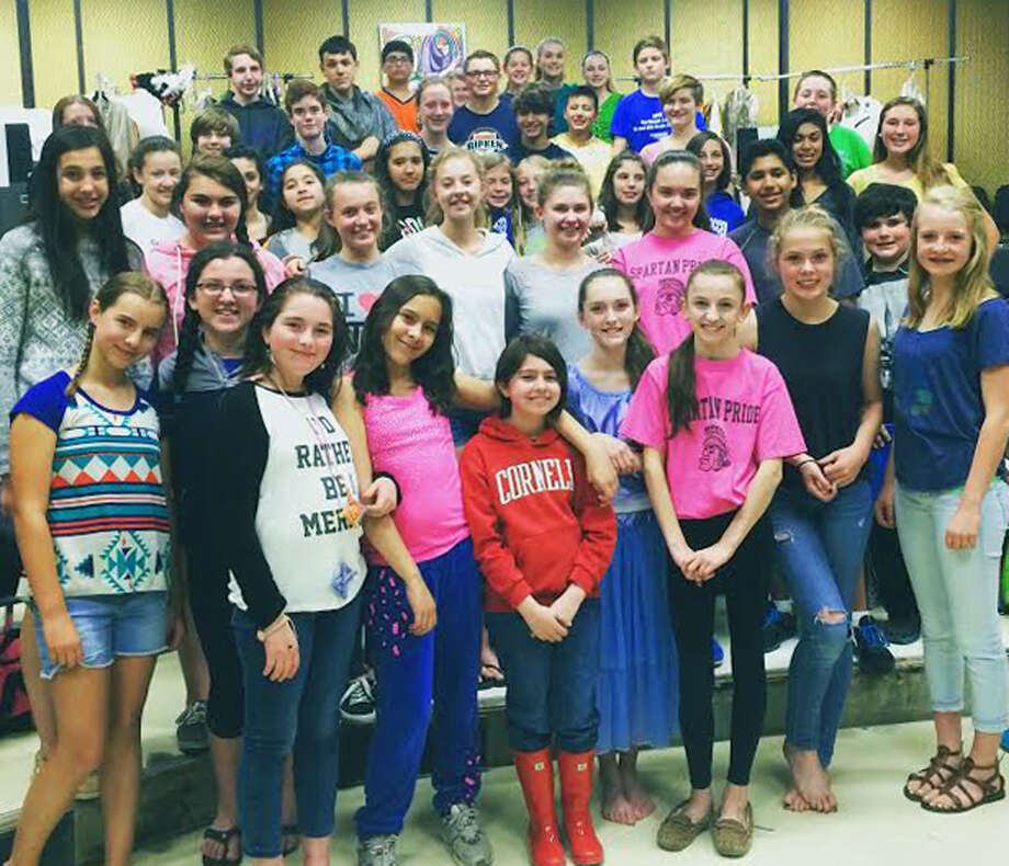 "The middle school cast for Shepaug Valley School's production of ""Shrek Jr., The Musical"" takes a break from rehearsal to pose for posterity. May 2015  Courtesy of Cheri Crossley Photo: Contributed Photo / The News-Times Contributed"
