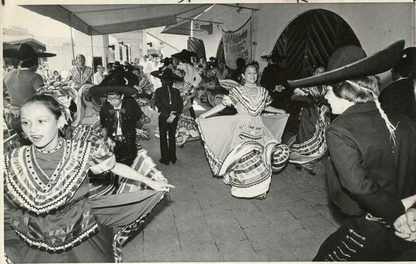 Flamenco dancers at the Cinco de Mayo celebrations in 1982.