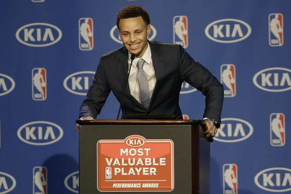 Golden State Warriors guard Stephen Curry speaks at a news conference announcing him as the NBA Most Valuable Player in Oakland, Calif., Monday, May 4, 2015.