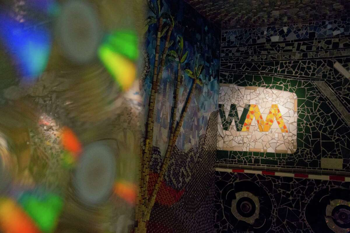 The Waste Management Recycling Facility classroom in Southwest Houston, TX, Thursday Nov. 20, 2014. The art work created from recycled material was created by Texas artist Dan Philips. (Billy Smith II / Houston Chronicle)