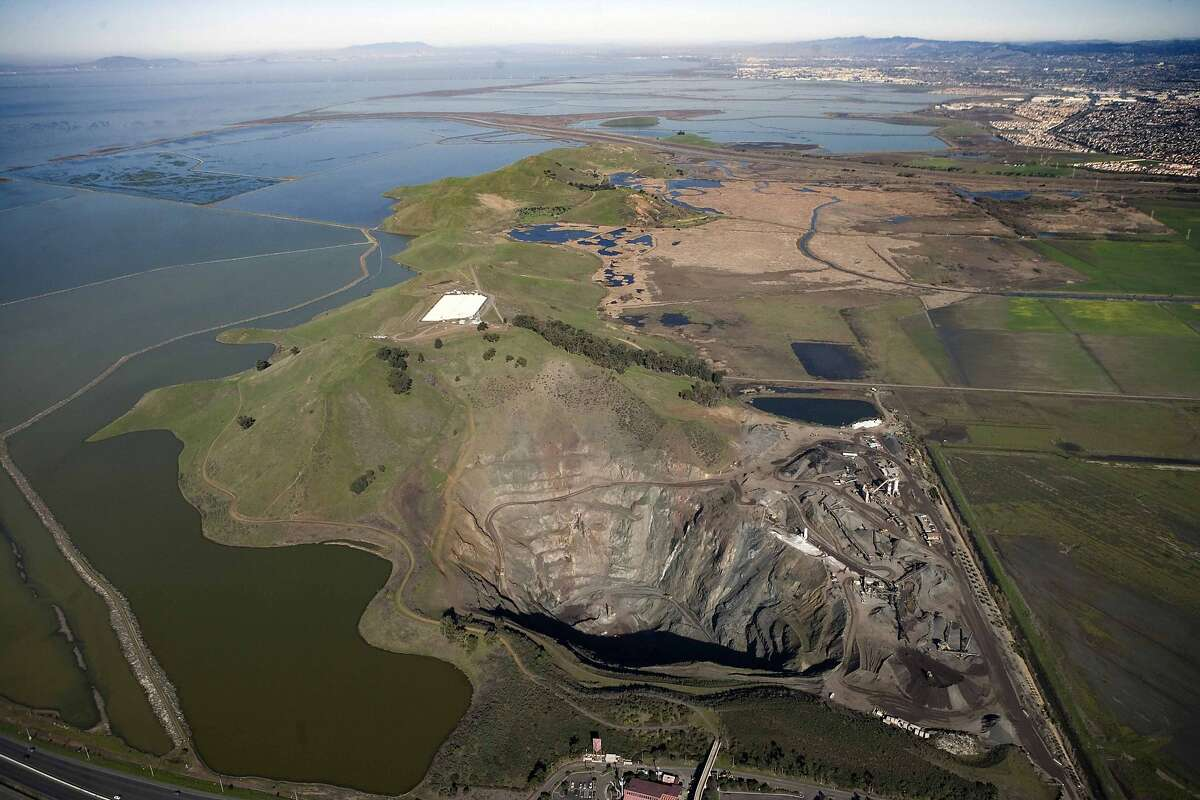 This aerial photo shows the Dumbarton Quarry before the East Bay Regional Park Districts renovates the site and turns it into the Bay Area's newest park, scheduled to open in 2017. In the missing link for thousands of acres of contiguous parkland on the edge of South San Francisco Bay. It is located near the eastern foot of the Dumbarton Bridge.