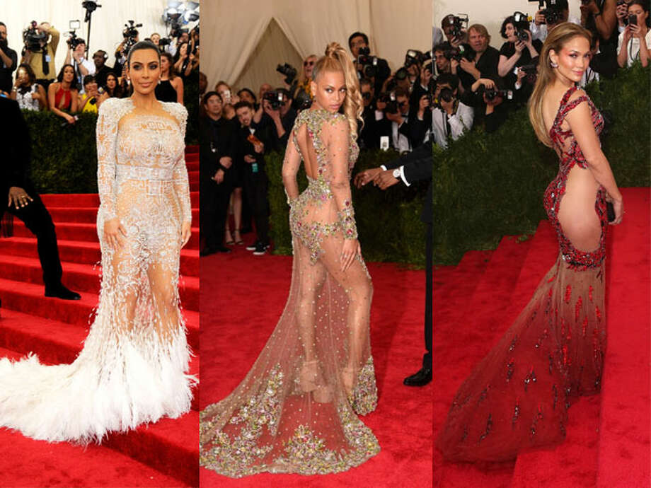 Kim Kardashian/Beyonce/Jennifer Lopez. We've reached peak sheer thanks to Beyonce, Jen and Kim's barely there numbers last night. That little dress and that much skin is just too much of a good thing, and we're over it. Extra negative points for Beyonce's hair. (Sorry, Bey.) Photo: Getty Images