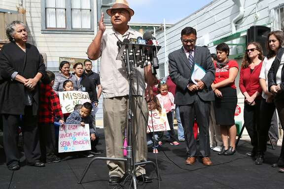 Roberto Hernandez, community leader and activist, explains why an ordinance calling for a temporary moratorium on construction of market-rate housing in the Mission in necessary on Tuesday, May 5, 2015 in San Francisco, Calif.