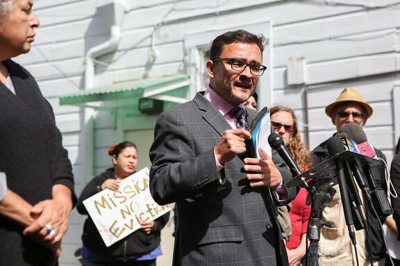 Supervisor David Campos announces an ordinance calling for a temporary moratorium on construction of market-rate housing in the Mission on Tuesday, May 5, 2015 in San Francisco, Calif.