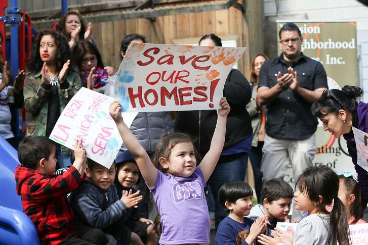 Children from the Mission Neighborhood Head Start Preschool hold signs during the press conference where Supervisor David Campos announced an ordinance calling for a temporary moratorium on construction of market-rate housing in the Mission on Tuesday, May 5, 2015 in San Francisco, Calif.