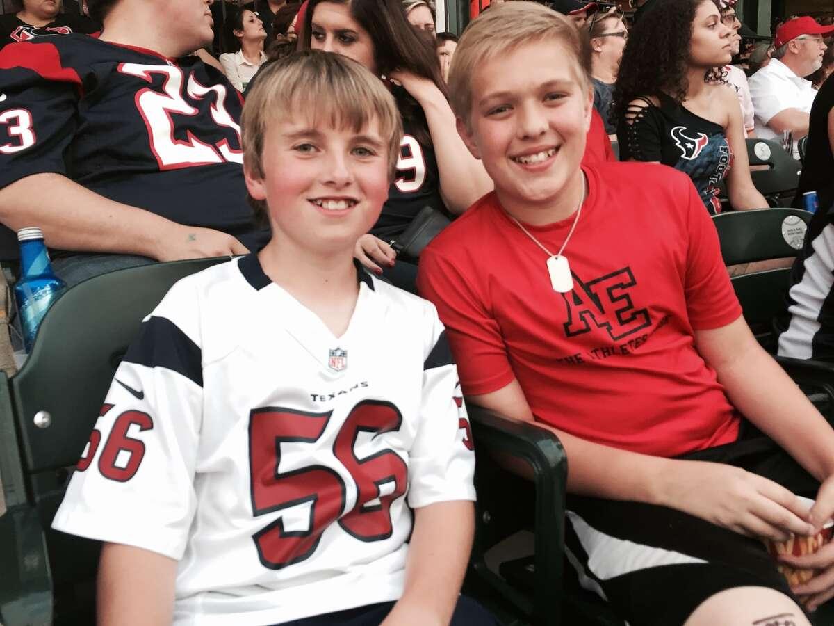 Garrett Denley, left, and his friend Cameron Kasmiersky at the JJ Watt Foundation Charity Softball Classic May 1, 2015. (Courtesy photo)