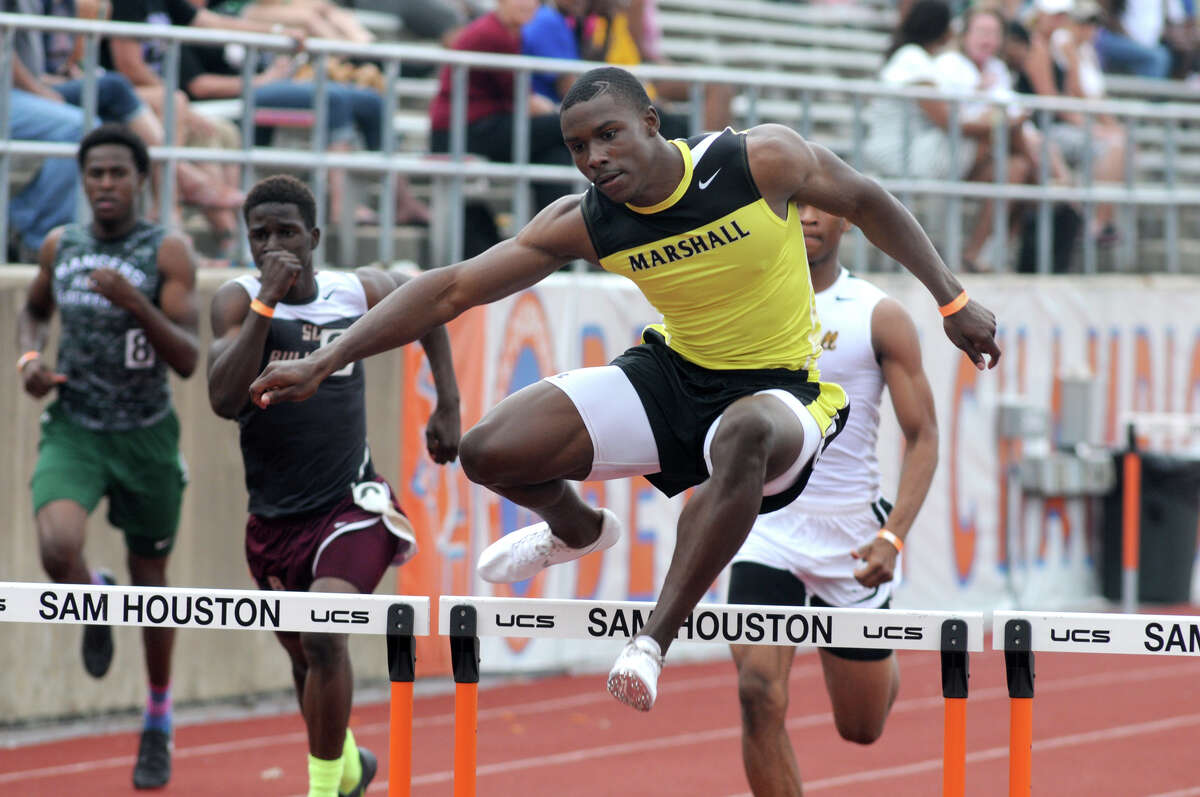Fort Bend Marshall's Kendall Sheffield defended his crown in the 110-meter hurdles for the Buffs' powerful track team.