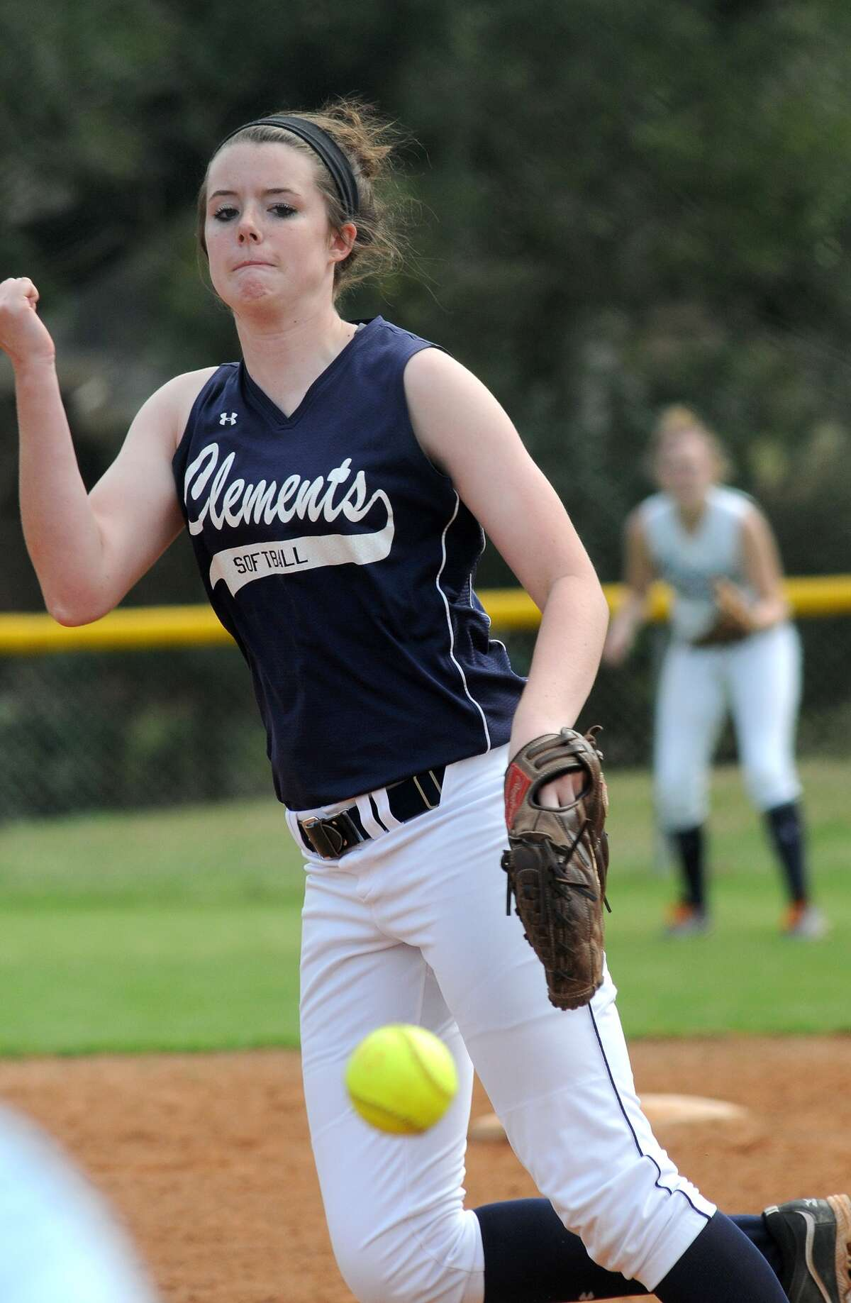Clements pitcher Meredith Miller works to the plate against The Woodlands. Freelance photo by Jerry Baker