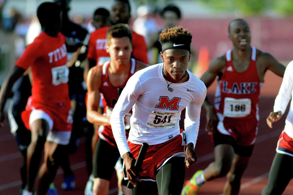 Manvel sophomore Howard Fields (541) starts his anchor leg of the boys 4x400-meter relay during the running finals of the 2015 Region III-6A Track & Field Championship at Crump Stadium in Alief last weekend.