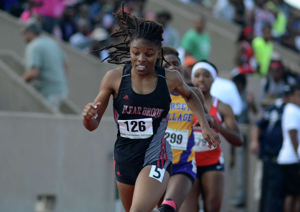Clear Brook senior Maygen Smith sprints to the finish line during the Girls 400 Meter Dash in the running finals of the 2015 Region III-6A Track & Field Championship at Crump Stadium in Alief on Saturday, May 2, 2015.