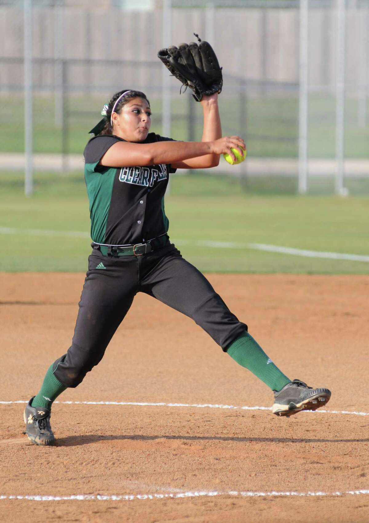 Clear Falls freshman pitcher Misty Muniz during a 14-0 area playoff win against Furr on 5-4-12 in League City. The home win put the Lady Knights into the Class 4A Region III quarterfinals against Manvel.