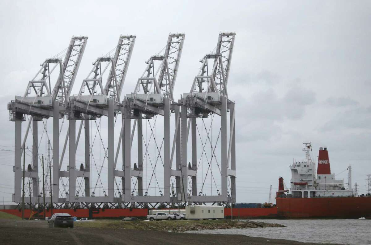 A ship is shown in the Houston Ship Channel transporting four electric Super Post-Panamax Ship-to-Shore wharf cranes to the Barbours Cut Container Terminal Tuesday, May 5, 2015, in Mogan's Point. The cranes the largest ever built by Konecranes in Mokpo, South Korea, are 289 feet high with a lift height of 204 feet.