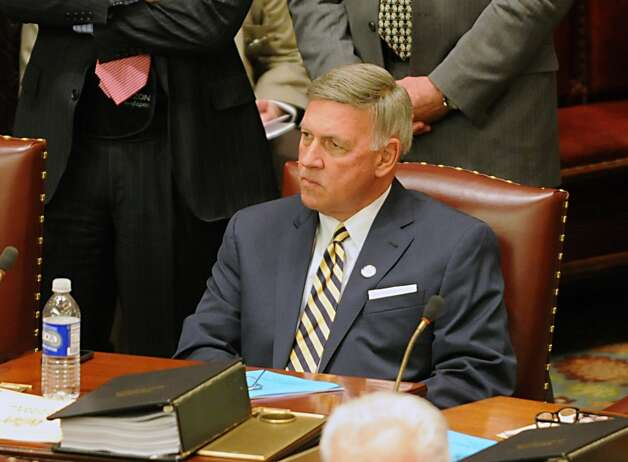 Senator Rich Funke is seen as members of the New York State Senate gather for session in the senate chamber at the Capitol on Monday, May 4, 2015 in Albany, N.Y.  (Lori Van Buren / Times Union) Photo: Albany Times Union