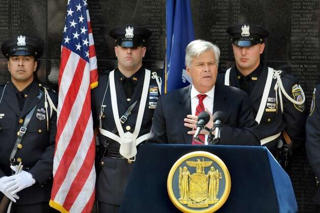 Senate Majority Leader Dean Skelos speaks during a police officers memorial ceremony on Tuesday, May 5, 2015, at the State Police Memorial in Albany, N.Y. Nine officers, who died from line of duty injuries in 2014, were honored. (Cindy Schultz / Times Union) Photo: Albany Times Union