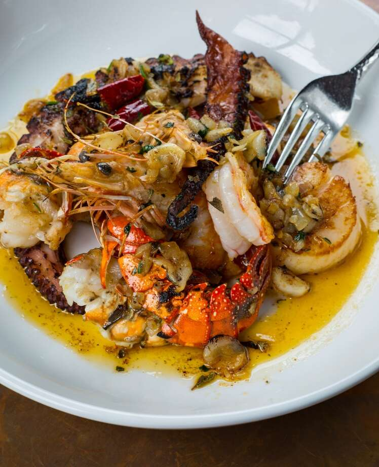 11. Hugo's Cuisine: Mexican/Tex-Mex Entree price: $$-$$$ Where: 1600 Westheimer Phone: 713-524-7744 Website: hugosrestaurant.net Read Alison Cook's review of Hugo's Pictured above: Sautéed lobster, shrimp, scallops and octopus served with arroz blancoInformation current as of October 3, 2014. Photo: ( Nick De La Torre )