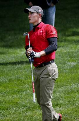 Maverick McNealy watched his fairway shot on the 18th hole Tuesday May 5, 2015. The first U.S. Amateur Four-Ball Championship is being played at the Olympic Club in San Francisco, Calif.