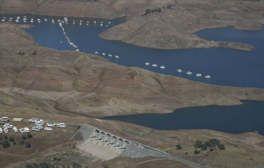 A photo from last week of New Hogan Lake, a reservoir east of Lodi (San Joaquin County), shows the alarmingly low water level. Photo: Rich Pedroncelli, Associated Press