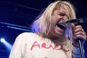 American singer Ariel Pink performs live during a concert at the Postbahnhof on March 11, 2015 in Berlin, Germany.