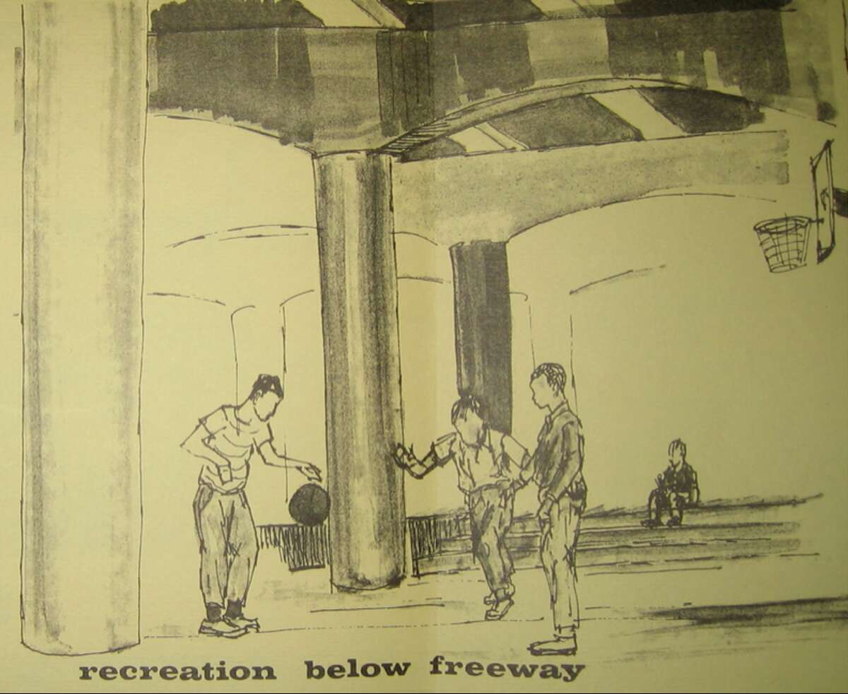 What to do with the space under the Pierce Elevated Freeway? Drawings from the Houston Municipal Arts Commission's 1968