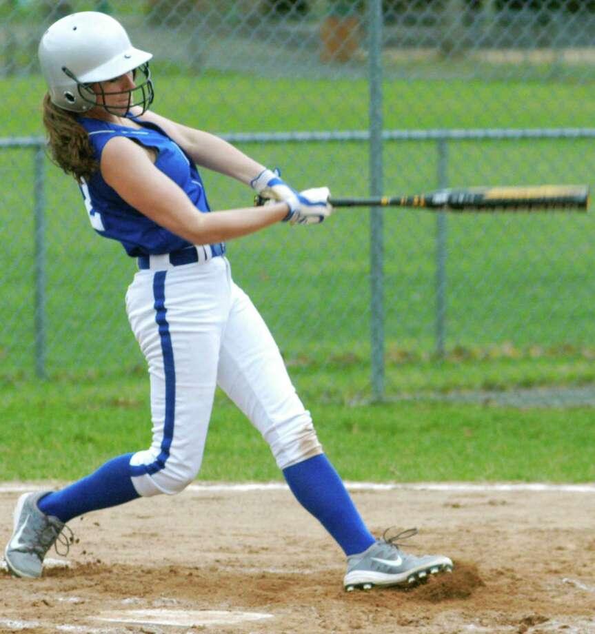 Talented junior Giana Johnson displays her batting technique vs. Housatonic Valley Regional for Shepaug Valley School softball. April 2015 Photo: Norm Cummings / The News-Times