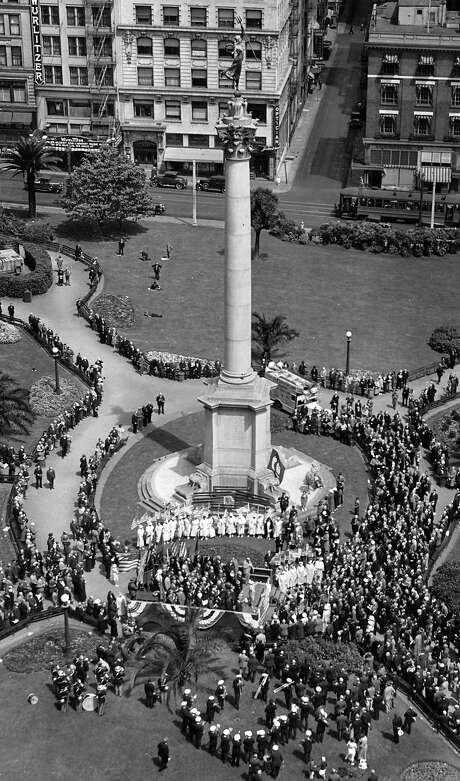 A celebration of Dewey Day in San Francisco's Union Square on April 30, 1934. No photographer listed.A celebration of Dewey Day in San Francisco's Union Square on April 30, 1934. Photo: Chronicle Archives