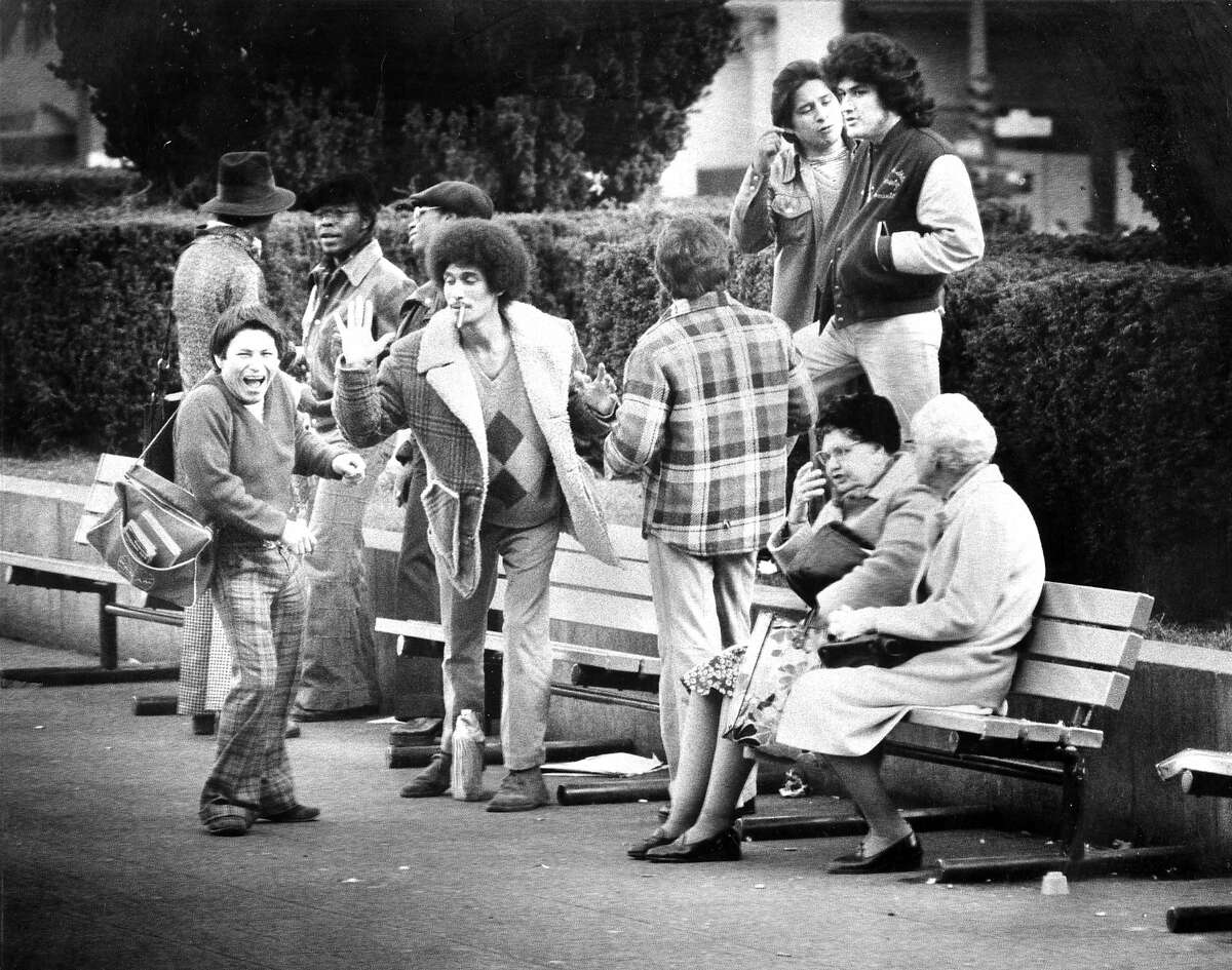 Jan. 13, 1979: A group of young men joke around in Union Square in 1979.