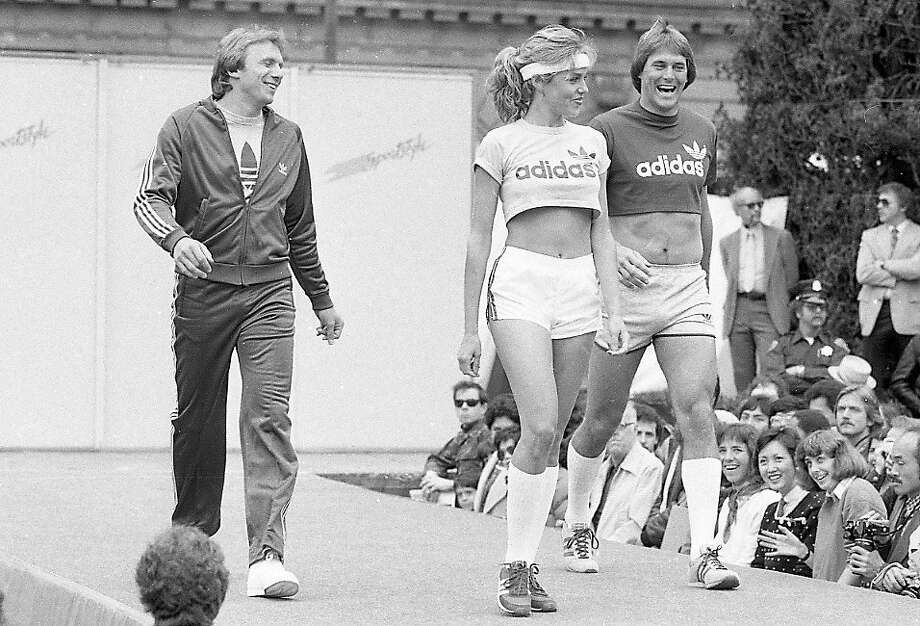 Joe Montana and Dwight Clark model sportswear during a Macy's fashion promo at Union Square. May 13, 1982. Photo: Fred Larson, The Chronicle