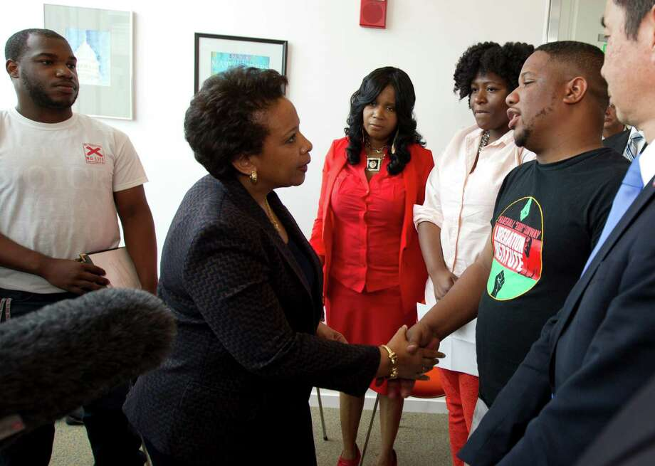 U.S. Attorney General Loretta Lynch meets with community activists at the University of Baltimore. She met privately with Freddie Gray's family earlier. Photo: Jose Luis Magana /Getty Images / 2015 Getty Images
