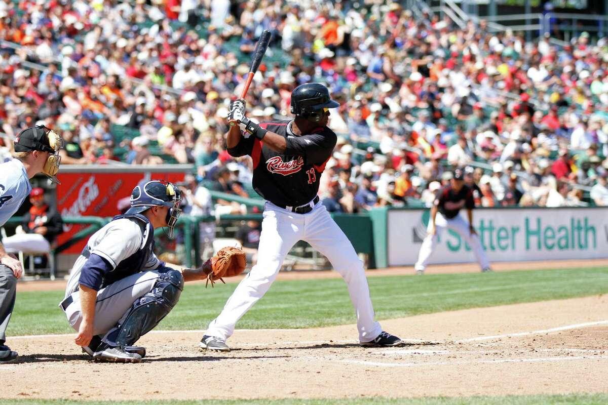 Sacramento River Cats shortstop Juan Ciriaco bats at Raley Field.