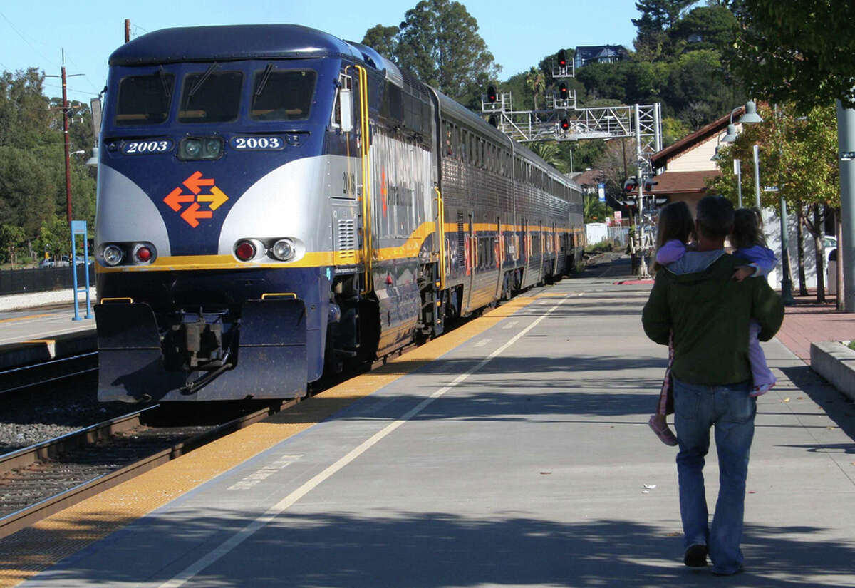 Amtrak's Capital Corridor service, shown here in Martinez, is an easy, relaxing way to get to Sacramento for a baseball game.
