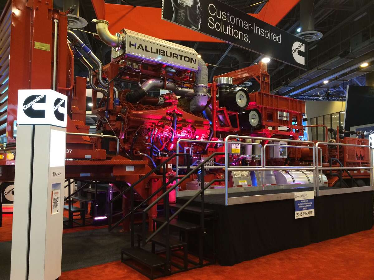 One of Halliburton's 2,000-horsepower hydraulic fracturing trucks was at a previous OTC.