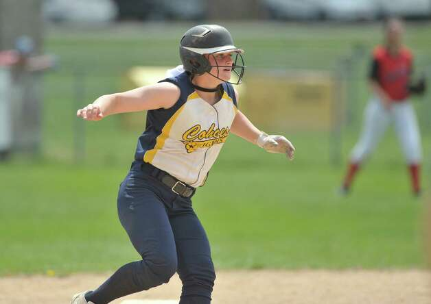 Cohoes High School player Isabelle DeChiaro comes off second base during their game against Guilderland on Sunday, May 3, 2015, in Guilderland, N.Y.   (Paul Buckowski / Times Union) Photo: PAUL BUCKOWSKI / 00031680A