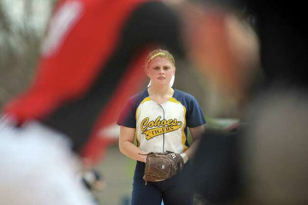 Cohoes High School pitcher Isabelle DeChiaro gets ready to deliver a pitch to a Guilderland player during their game on Sunday, May 3, 2015, in Guilderland, N.Y.   (Paul Buckowski / Times Union) Photo: PAUL BUCKOWSKI / 00031680A