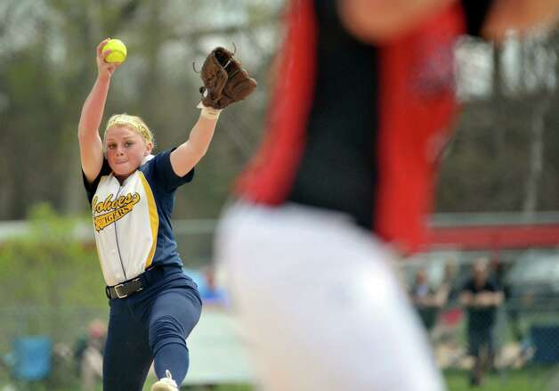 Cohoes High School pitcher Isabelle DeChiaro delivers a pitch to a Guilderland player during their game on Sunday, May 3, 2015, in Guilderland, N.Y.   (Paul Buckowski / Times Union) Photo: PAUL BUCKOWSKI / 00031680A