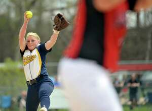 Cohoes High School pitcher Isabelle DeChiaro delivers a pitch to a Guilderland player during their game on Sunday, May 3, 2015, in Guilderland, N.Y.   (Paul Buckowski / Times Union)