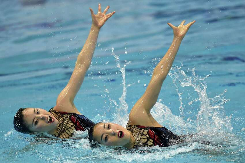 Yukiko Inui and Risako Mitsui of Japan perform their routine in the duet free routine final during day three of the Synchro Japan Open 2015 at Tokyo Tatsumi International Swimming Pool on May 4, 2015 in Tokyo, Japan.