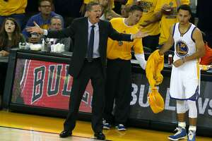 Golden State Warriors' Head Coach Steve Kerr reacts to an official's call in 2nd quarter while coaching against Memphis Grizzlies during Game 2 of NBA Playoffs' Western Conference Semifinals at Oracle Arena in Oakland, Calif., on Tuesday, May 5, 2015.