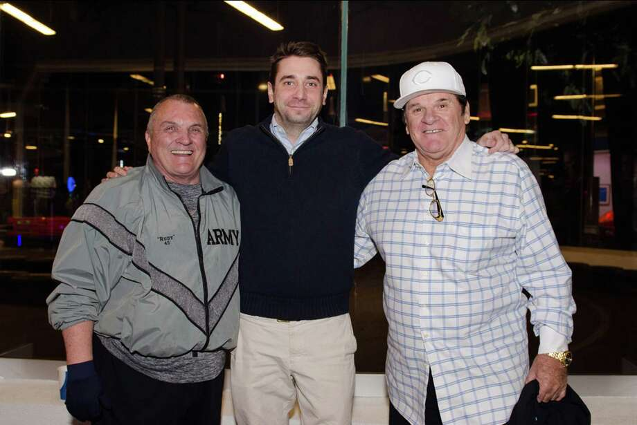 "New Canaan resident Nat Mundy, center, is joined by Rudy Ruettiger (yes, ""Rudy"" of Notre Dame lore) and Pete Rose at a recent ALS fundraiser hosted by Mundy. Photo: Contributed Photo / New Canaan News"