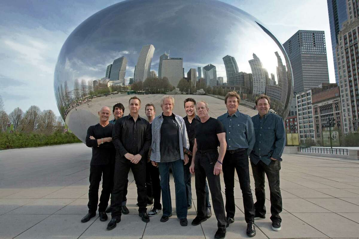 Chicago is Tris Imboden (from left), Walfredo Reyes Jr., Jason Scheff, Keith Howland, Lee Loughnane, Walter Parazaider, Jimmy Pankow, Robert Lamm and Lou Pardini.