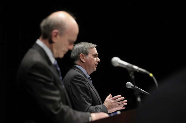 Roger Hull, left, the Republican-backed candidate for Schenectady mayor and Gary McCarthy, Democrat-backed candidate and the current acting mayor, take part in a debate at the GE Theatre at Proctors on Wednesday evening, Oct. 19, 2011 in Schenectady. (Paul Buckowski / Times Union)