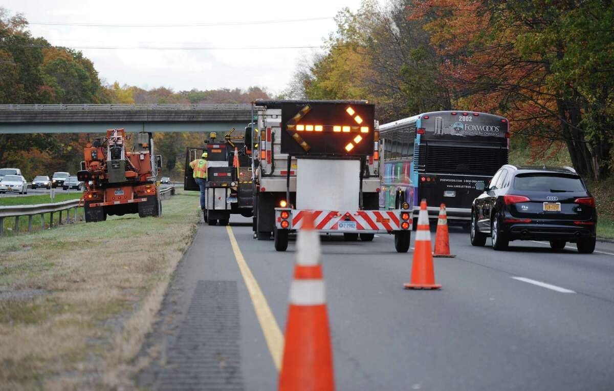 A traffic bottleneck in October 2013 on Interstate 84 in Newtown, Conn., as road crews work on a stretch of the roadway. With I-84 and Interstate 95 candidates for major expansions, commuters and truckers could see more frequent and lengthier delays in the distant future.