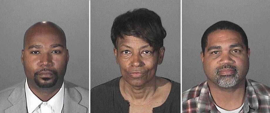 Pictured left to right, Brandon Kiel, 36, Tonette Hayes, 56, and David Henry, 46, were all arrested on suspicion of impersonating a peace officer for their role in a bogus police force called the Masonic Fraternal Police Department. Photo: LA County Sheriff's Department / ONLINE_YES