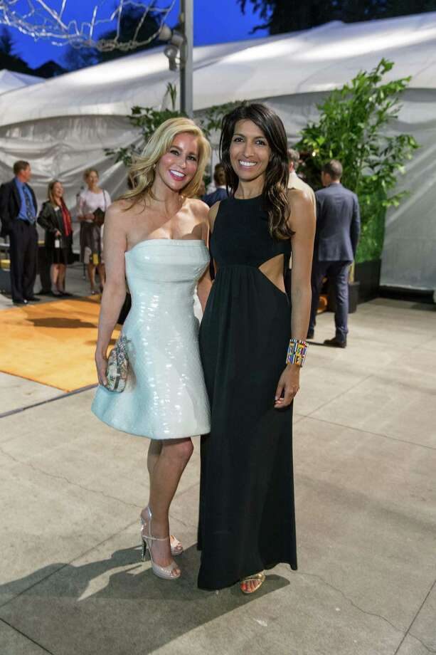 Paula Carano and Leila Janah at the California Academy of Science's annual Big Bang Gala on April 23, 2015. Photo: Drew Altizer Photography/SFWIRE, Drew Altizer Photography / ©Drew Altizer Photography 2015