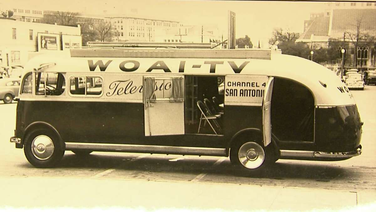 WOAI-TV's early mobile studio is pictured in this vintage photo.